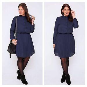 Praslin Plus Size 20 Simply Navy All-Round Pleat Skirt Skater DRESS Be Gorgeous