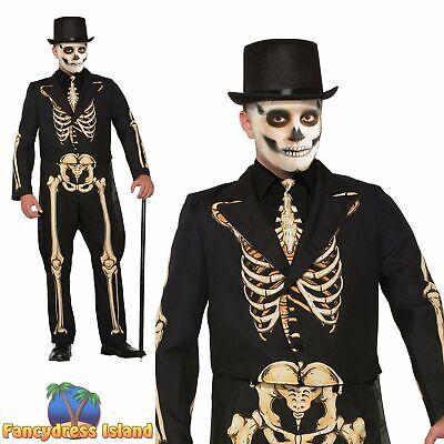 Gold Suit Halloween (Skeleton Formal Suit Gold & Black Bones Halloween Mens Fancy Dress)