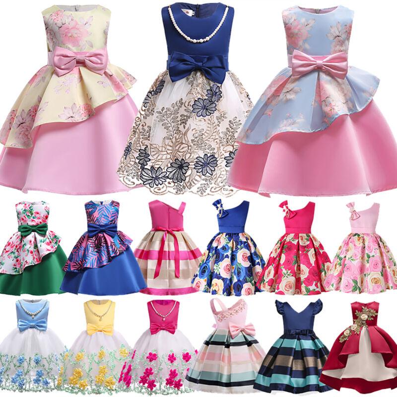 Kinder Mädchen Prinzessin Partykleid Spitze Blumen Brautjungfern Hochzeit Kleid