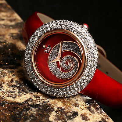 Women's Burgi BUR209RD Swarovski Crystal Diamond Sparkle Red Leather Watch