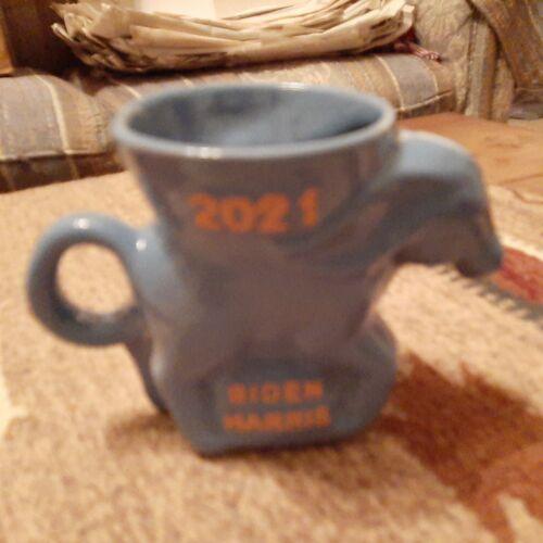 Frankoma DEM Democrat Donkey Mug 2021 Periwinkle Blue Glaze Biden Harris