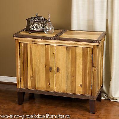 Craftsman Designed Acacia Wood Iron Cabinet Bar Hutch