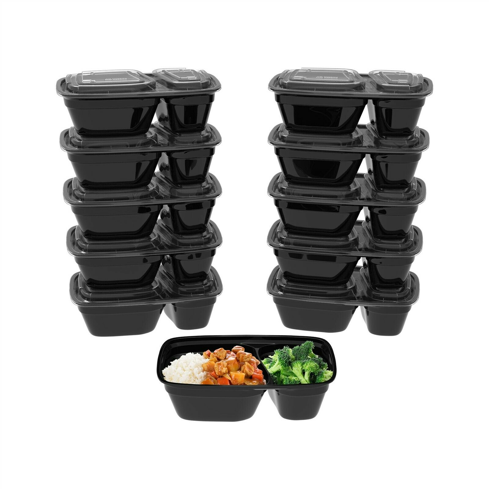 40 Meal Prep To Go Food Containers with Lids Microwave Lunch BPA Free 28 Oz