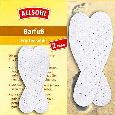 Barfuß Frotteesohle 2 Paar Einlegesohlen, 3 Schicht Hygiene Schuh Einlege Sohlen