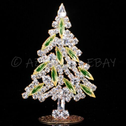 "Christmas tree - rhinestone - made in Czech republic - stand-up - 3.35"" x 2.17"""