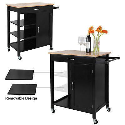 Kitchen Cart Island Storage Cabinet Black Wood Struction 3Tier Removable Shelves
