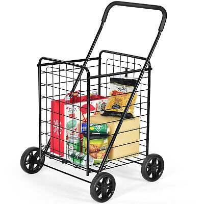 Folding Shopping Cart Utility Trolley Portable For Grocery Laundry Travel Black