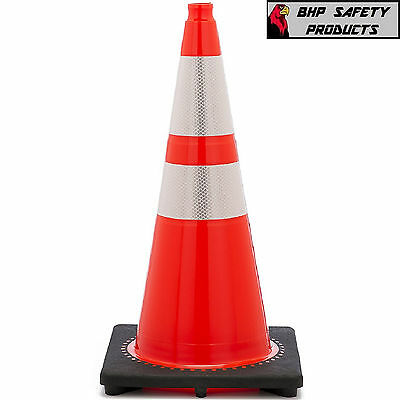 28 Inch Orange Safety Traffic Cone W 3m Reflective Collars Jbc Revolution