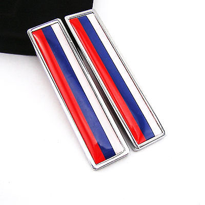 2 Pcs Stainless Metal Russian Flag of Russia Emblem Sticker For Yamaha Gas Tank