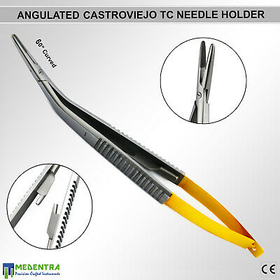 Tc Castroviejo Micro Surgery Needle Holder Angled 60 Suture Tying Forceps 14cm