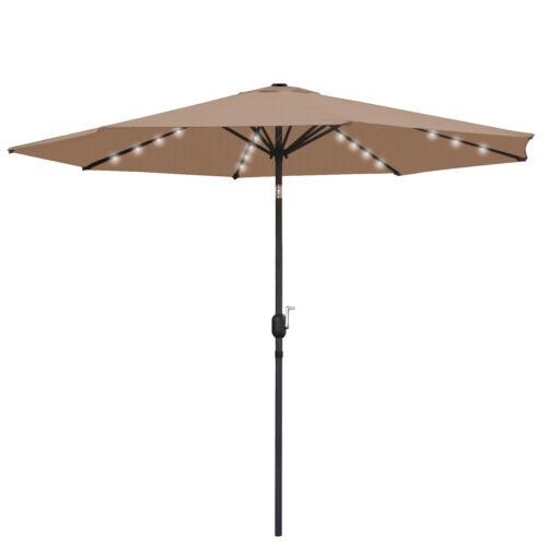 10 FT Solar Powered Patio Umbrella 24LED Lights Solar Umbrella w/ Tilt and Crank Garden Structures & Shade