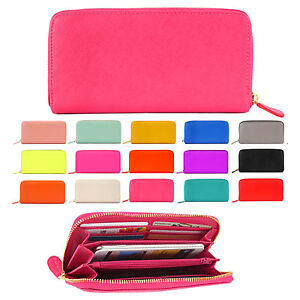New-Women-Wallet-Handbag-Ladies-Zip-Around-Colorful-Long-Purse-Clutch-Card-Bag