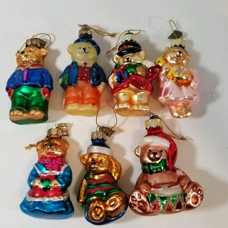 Thomas Pacconi Lot of 7 Teddy Bear Christmas Blown Glass Ornaments