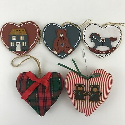 5 Heart Shaped Christmas Tree Ornaments Rustic Fabric Wood Folk Art Vintage lot - Heart Shaped Christmas Ornaments