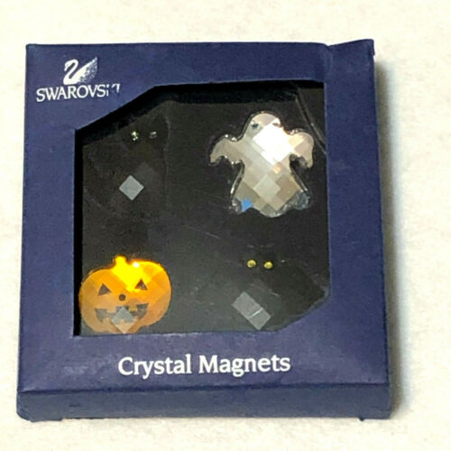 "Swarovski Crystal VINTAGE HALLOWEEN 1"" Magnet SET Ghost Cat Pumpkin Bat in Box"