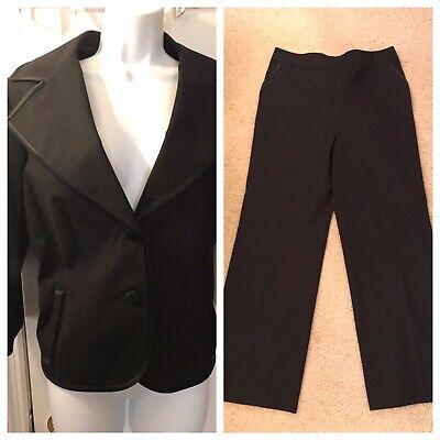 Women's DONCASTER Collection Black Pant Power Suit Blazer Set Silk Trim Sz 12 14