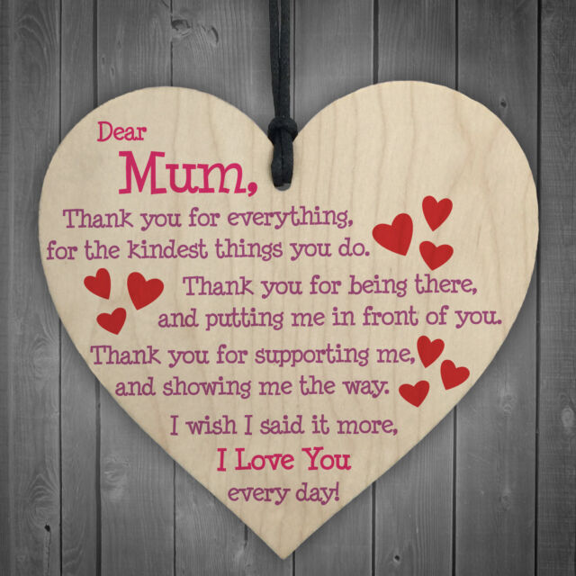 I love you gifts ebay mum i love you everyday wooden hanging heart mothers day gift cute mums sign new negle Gallery