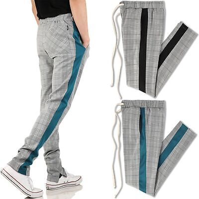 Mens Skinny Track Pants Light Plaid Stretch Casual Trouser Fashion Jogger (Plaid Pants Mens)