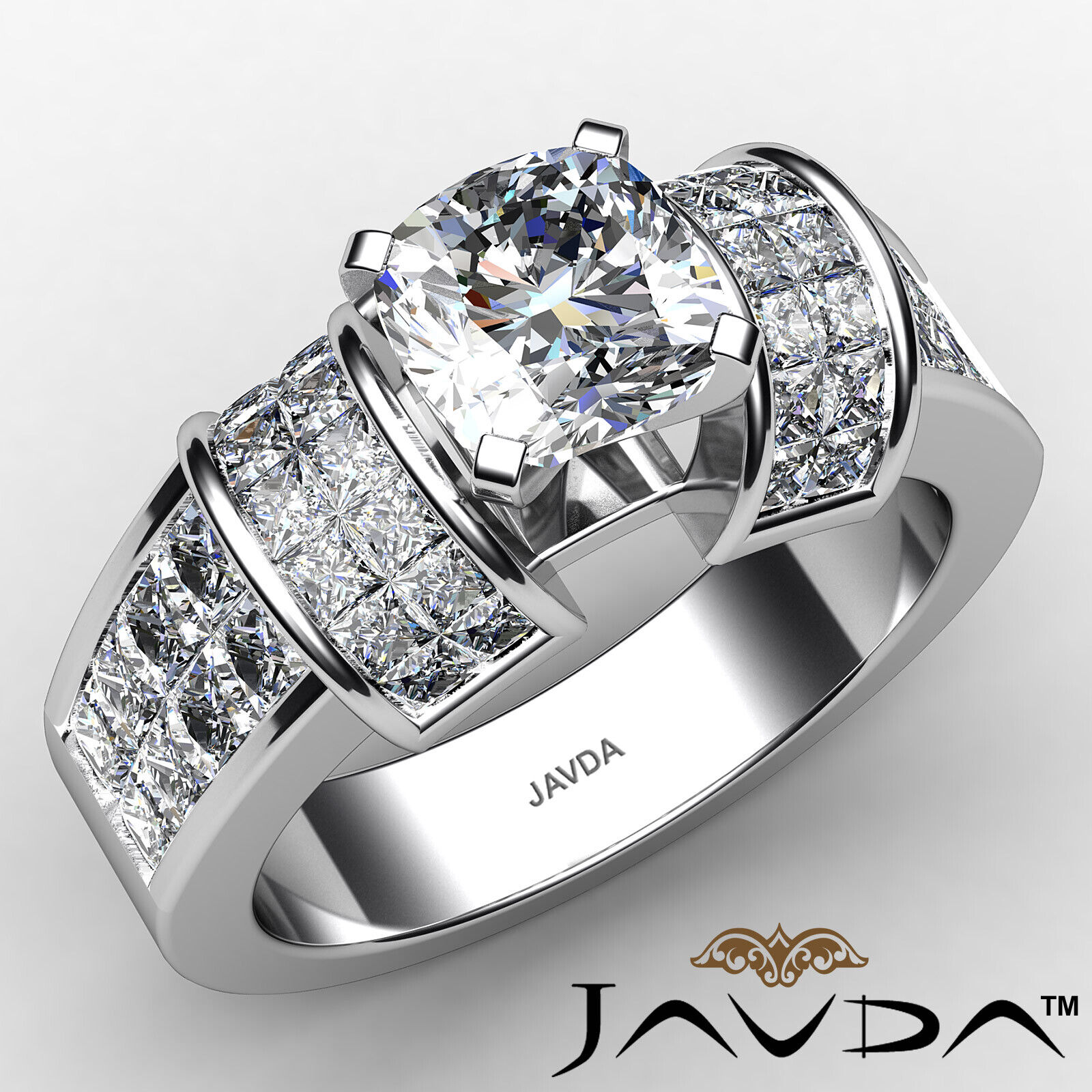 Cushion Diamond Engagement GIA Invisible Set Ring F Color & SI1 clarity 2.86 ctw