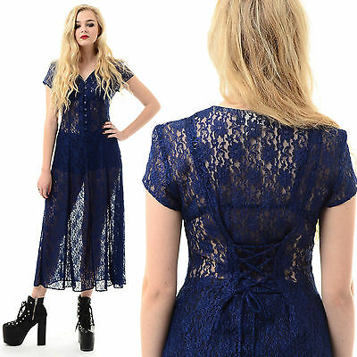 Vtg 80s 90s Sheer LACE Goth Floral Witchy CORSET BACK Gypsy Grunge Midi Dress - Gypsy Corset Dress