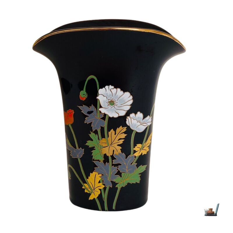 """Modern Japanese Yamaji Vase Black Flower Gold Rim Wide Lip Floral Design 7"""""""