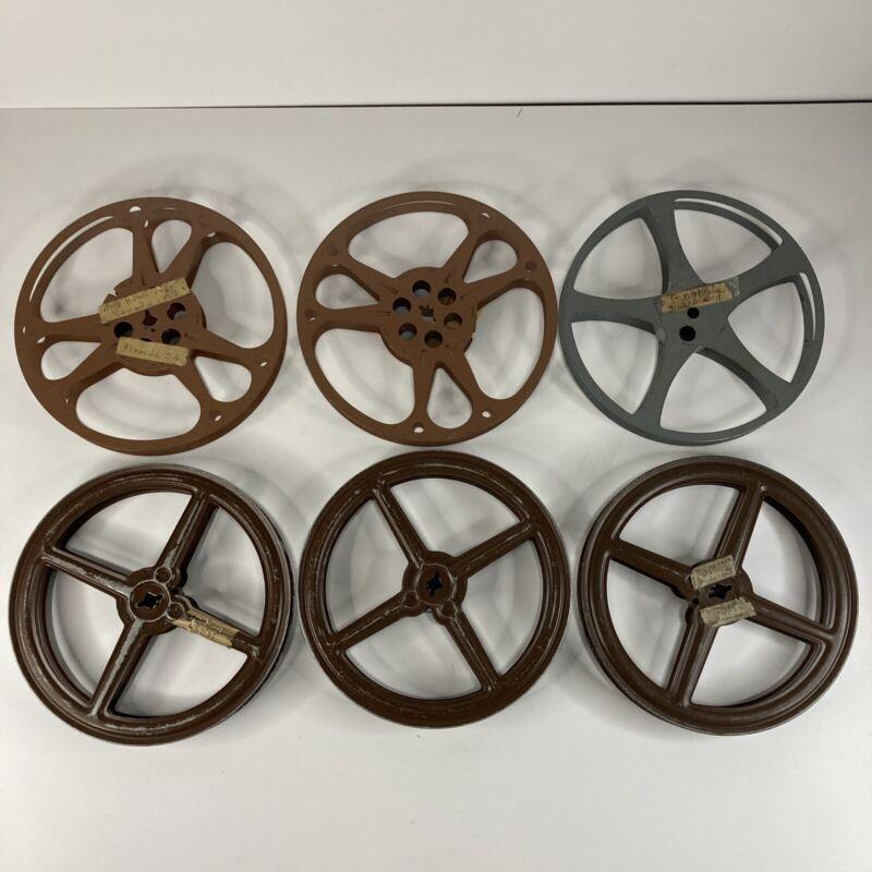 """Lot 6 Vintage Metal Movie Film Reel 7"""" 400 ft"""