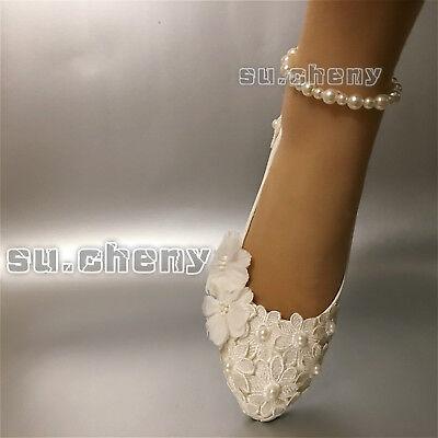 d0d2fc7dfee  29.99 USD Cómpralo ahora. su.cheny Lace pearls white ivory flats low high  heels pump Wedding Bridal shoes (231640309725)