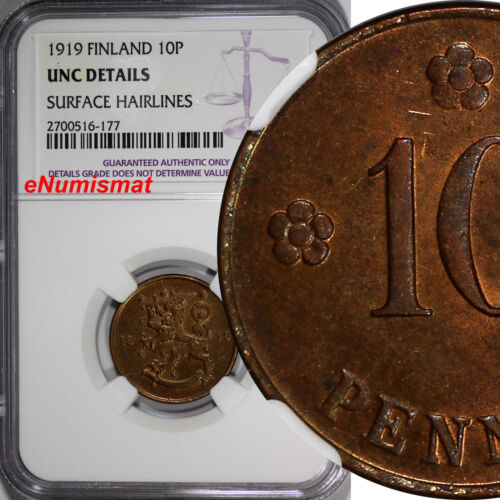 Finland Copper 1919 10 Pennia NGC UNC DET. 1st Year Type KM# 24 REDUCED PRICE