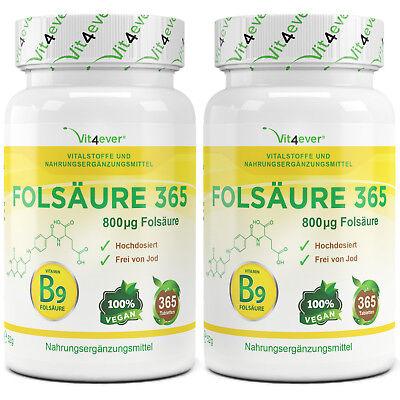 2x Folsäure Vitamin B9 = 730 Tabletten - 800 mcg / µg - Vegan - no Kapseln