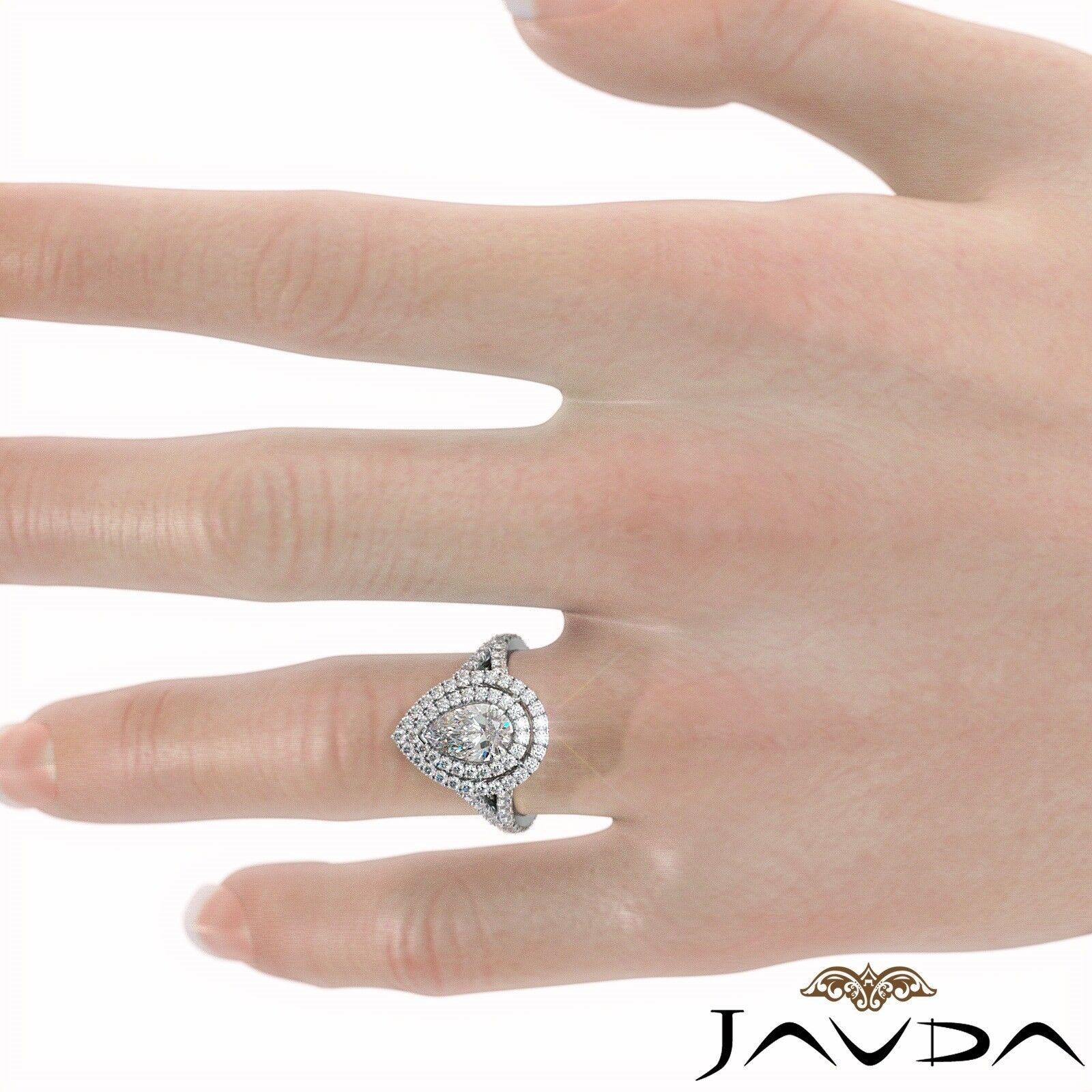 2.12ct Double Halo Split Shank Pear Diamond Engagement Ring GIA E-SI1 White Gold 7
