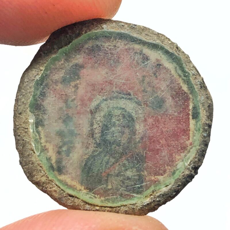 Late Or Post Medieval Orthodox Icon Relic Artifact - Token With Colored Painting