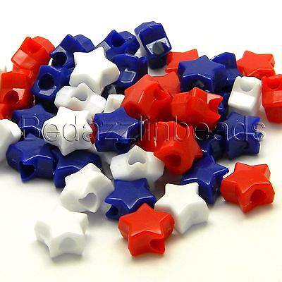 Lot of 300 Red, White and Blue 11mm Star Shaped Plastic USA Novelty Pony Beads](Red Plastic Beads)