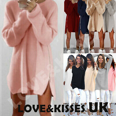 Womens Oversized Pullover Sweater Long Tops Ladies Casual Zip Jumper Mini Dress