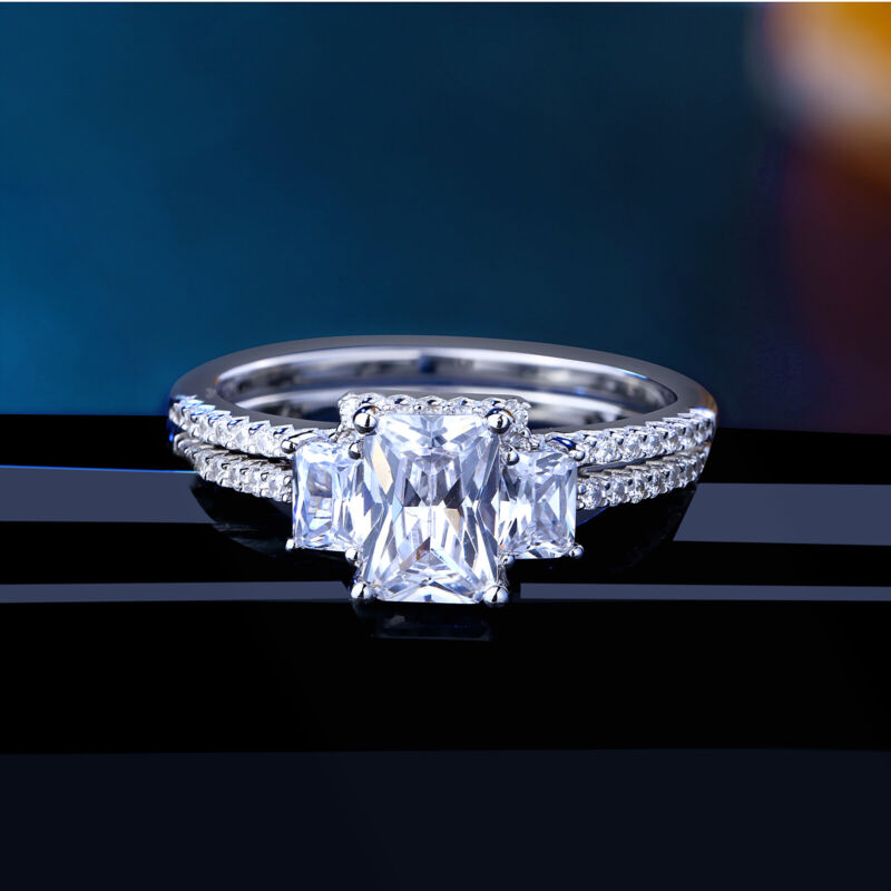 Newshe Wedding Engagement Ring Set For Women Emerald 925 Sterling Silver Cz 5-10