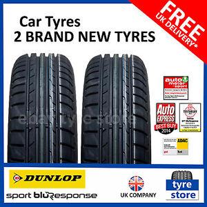 2X New 205 55 16 Dunlop Sport BLURESPONSE 91V 2055516 205/55R16 (2 TYRES)