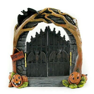 "Fairy Garden Fun Halloween 5"" Halloween Arch with Hinged Gates Pumpkins Keep Out"