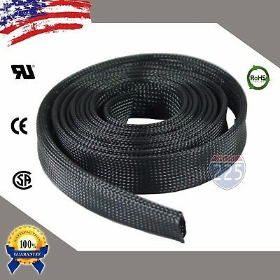 """25 FT. 1"""" Black Expandable Wire Cable Sleeving Sheathing Braided Loom Tubing US"""