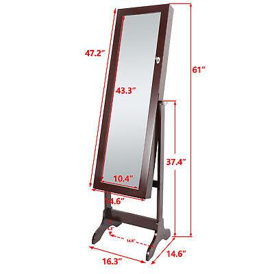 Free Standing Full Length Mirror Jewelry Cabinet Armoire Storage Organizer Brown Mirror Jewelry Organizer