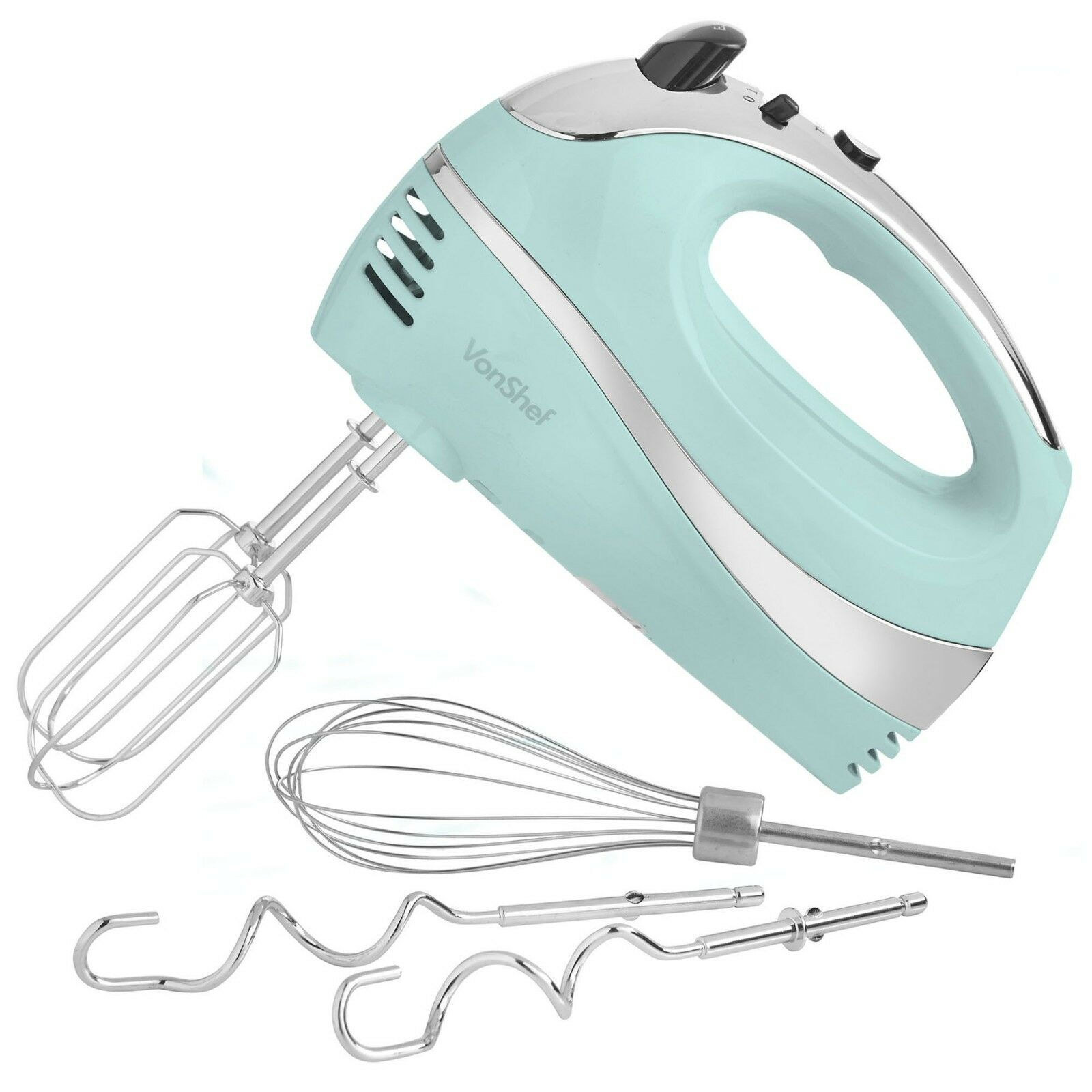 VonShef BLUE Electric Hand Mixer Whisk 6 Speed with Stainles