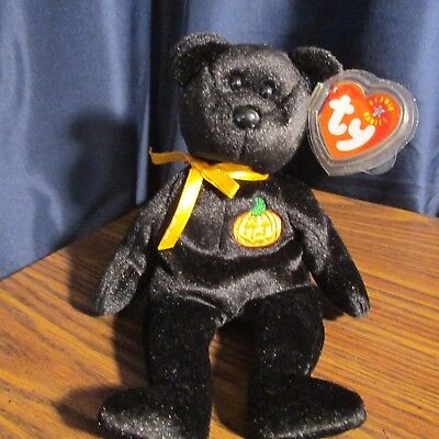 TY Beanie Baby Haunt the Halloween Bear with Pumpkin in chest,,,MWMT