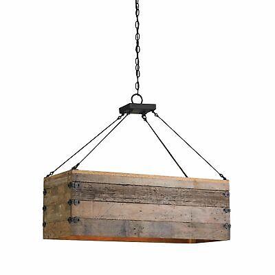 Currey & Company 9994 Billycart Linear Chandelier Blacksmith/Natural Wood Currey Wood Chandelier