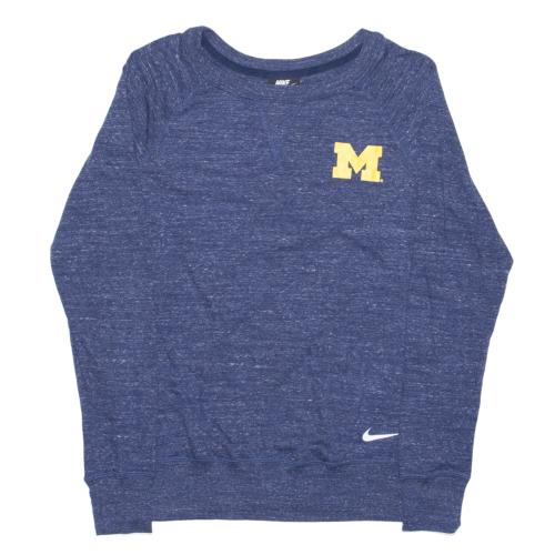 NIKE University Of Michigan Blue Regular USA Long Sleeve T-Shirt Mens S