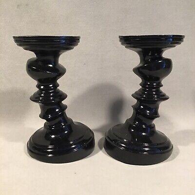 "PV06802 Vintage Ashland Halloween Black SKELETON MANOR Candle Holder Pair - 7"""