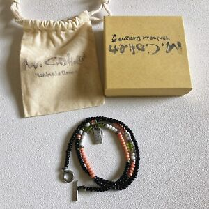 M.Cohen African Glass with Silver Beads  Bracelet - Large / Onyx