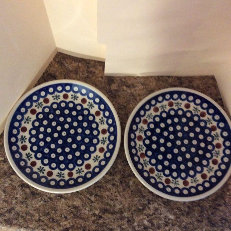 2 - Polish Pottery Hand,ade In Poland Mosquito Boleslawlec Plates 7 3/4