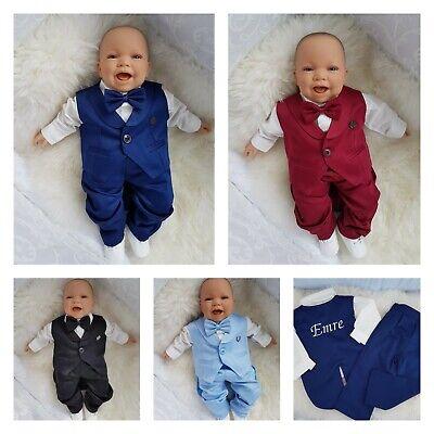 Neu! Taufanzug Babyanzug mit Namen bestickt Schwarz Blau Jungen 68 74 80 86 92 ()