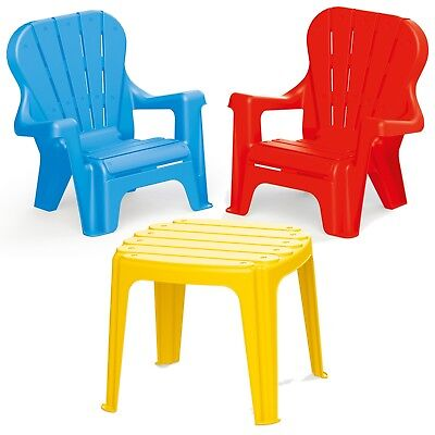 Kids Strong Plastic Table & Chairs Outdoor Garden Furniture Seat Play Eat NEW