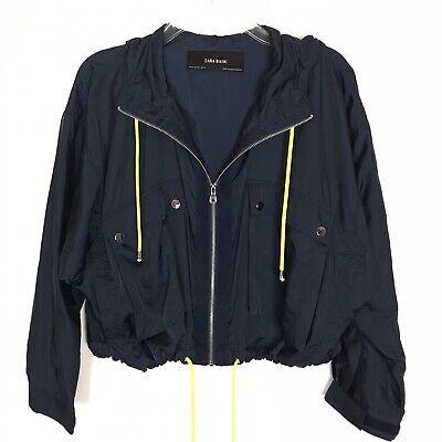 Zara Basic Womens Navy Blue Yellow Rain Jacket Coat Sz XS Oversized Lightweight Navy Blue Raincoat