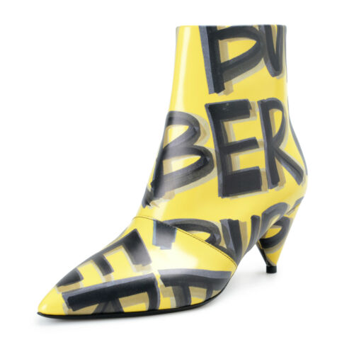 Burberry London Womens WILSBECK Yellow Leather Heeled Ankle Boots Shoes