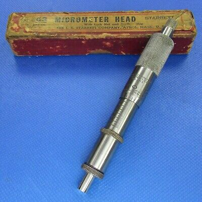 Old Starrett 263 Micrometer Head In Original Maroon Box 1 X .001 Machinist